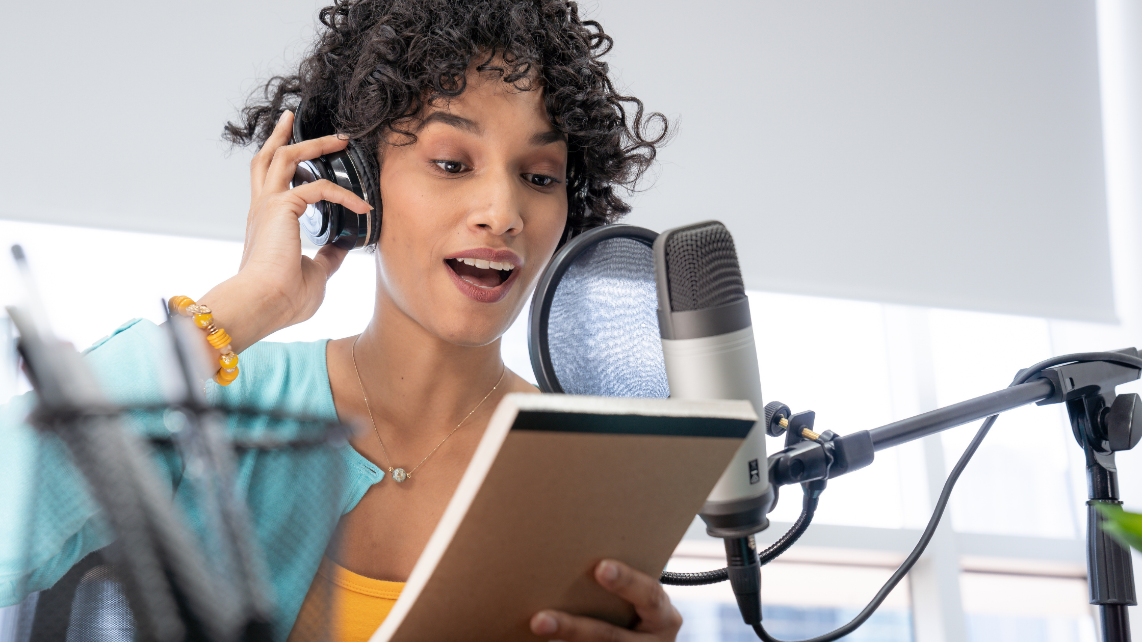 Woman sharing information with donors via podcast